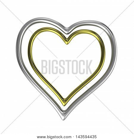 Two Concentric Heart Shaped Golden And Silver Rings Frame