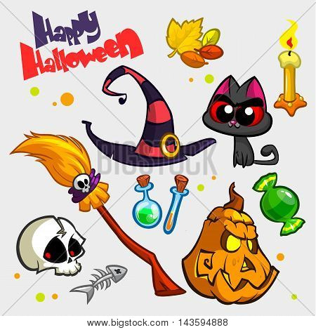 Vector set of Halloween pumpkin and attributes icons. Witch cat pumpkin head skull witch hat poison bottle broomstick big candy candle and fish skeleton.