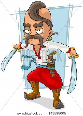 A vector illustration of cartoon cossack with swords and pistol