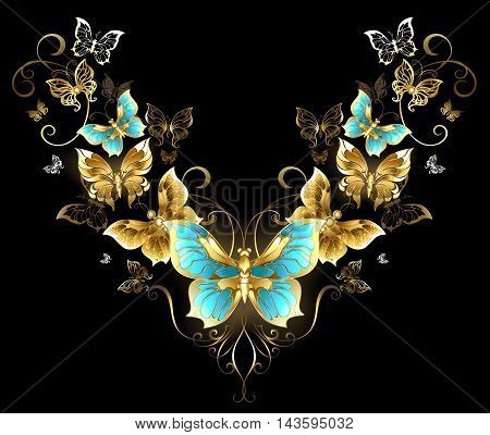 Symmetrical pattern of gold jewelry butterflies on a black background. Golden Butterfly. Design with butterflies.