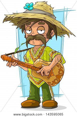 A vector illustration of cartoon farmer in straw hat with guitar