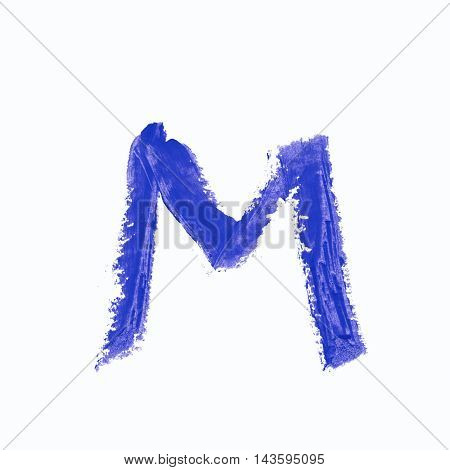 Single m latin letter symbol drawn with a wax crayon isolated over the white background