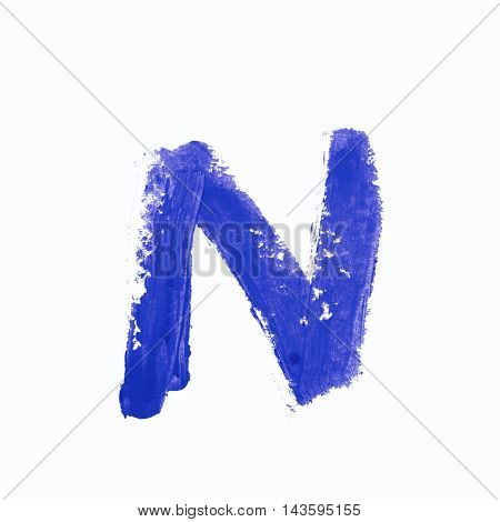 Single n latin letter symbol drawn with a wax crayon isolated over the white background