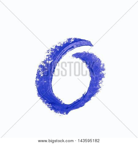 Single o latin letter symbol drawn with a wax crayon isolated over the white background
