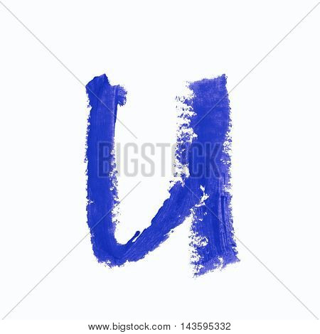 Single u latin letter symbol drawn with a wax crayon isolated over the white background
