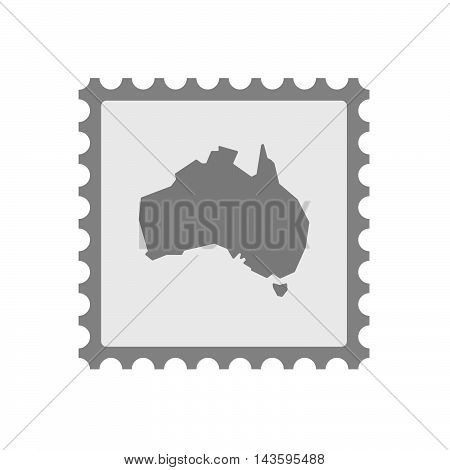 Isolated Mail Stamp Icon With  A Map Of Australia