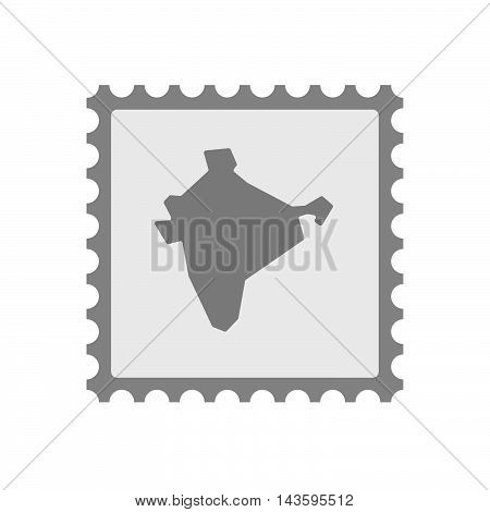Isolated Mail Stamp Icon With  A Map Of India