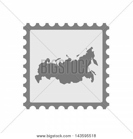 Isolated Mail Stamp Icon With  A Map Of Russia