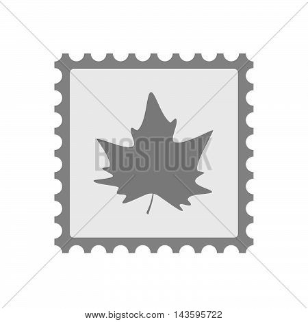 Isolated Mail Stamp Icon With An Autumn Leaf Tree