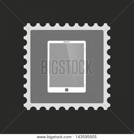 Isolated Mail Stamp Icon With A Tablet Computer