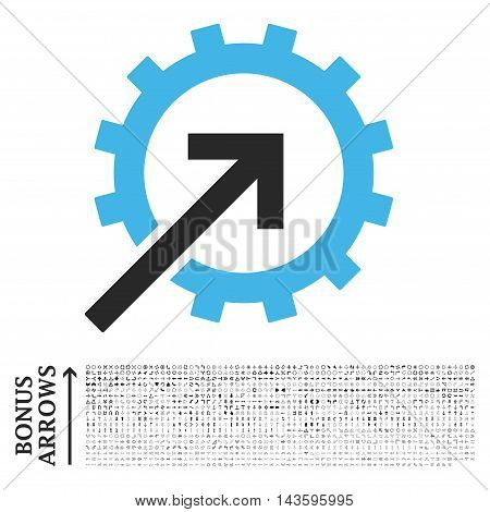Cog Integration icon with 1200 bonus arrow and direction pictograms. Vector illustration style is flat iconic bicolor symbols, blue and gray colors, white background.