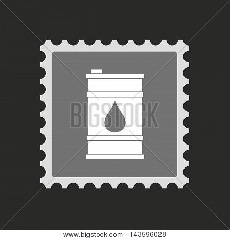 Isolated Mail Stamp Icon With A Barrel Of Oil