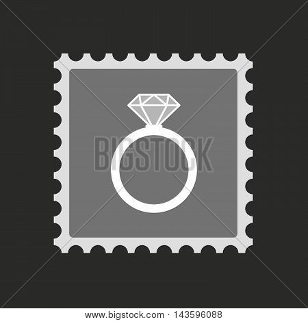 Isolated Mail Stamp Icon With An Engagement Ring