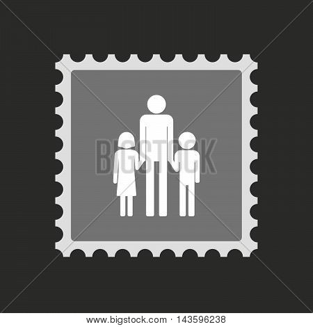 Isolated Mail Stamp Icon With A Male Single Parent Family Pictogram