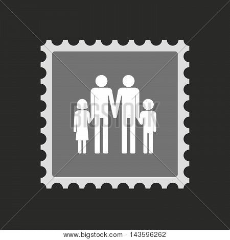 Isolated Mail Stamp Icon With A Gay Parents  Family Pictogram