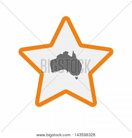 Isolated Line Art Star Icon With  A Map Of Australia