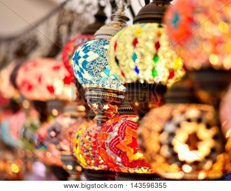 Oriental lamps on a bazaar, light equipment in Middle-East.