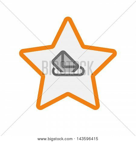 Isolated Line Art Star Icon With  A Ballot Box