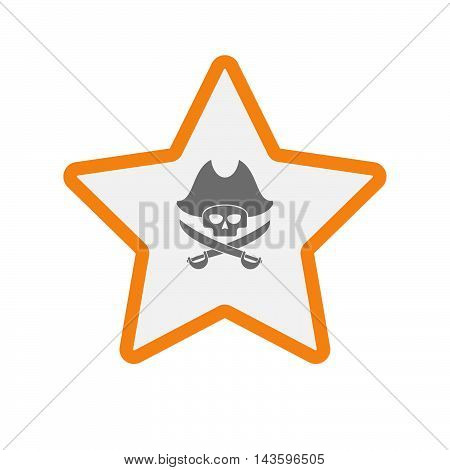 Isolated Line Art Star Icon With A Pirate Skull