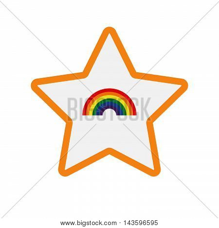Isolated Line Art Star Icon With A Rainbow