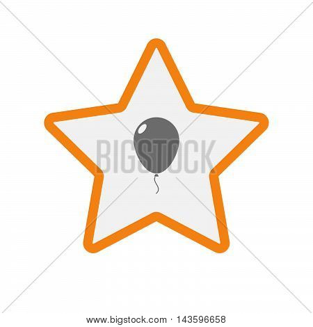 Isolated Line Art Star Icon With A Balloon