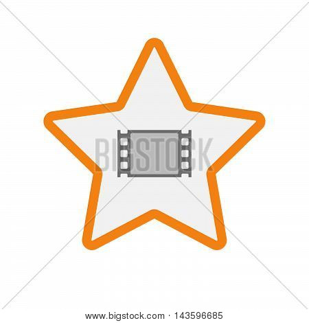 Isolated Line Art Star Icon With A Film Photogram