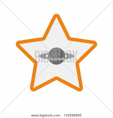Isolated Line Art Star Icon With The Planet Saturn