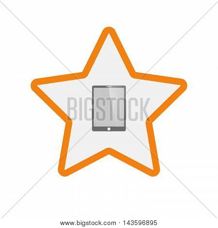 Isolated Line Art Star Icon With A Tablet Computer