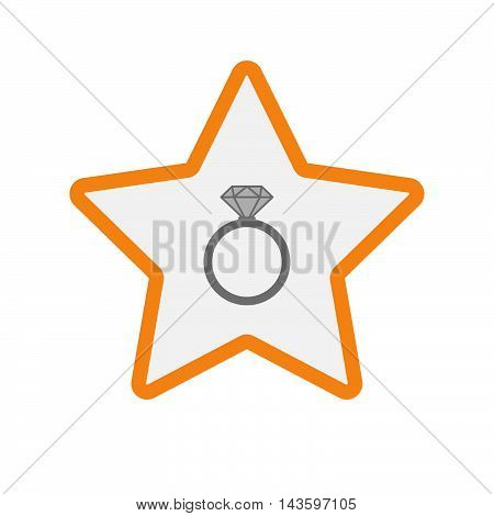 Isolated Line Art Star Icon With An Engagement Ring