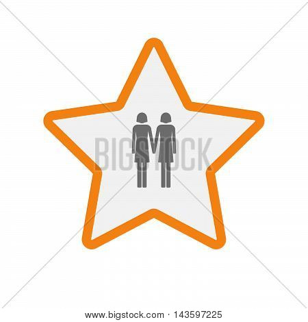 Isolated Line Art Star Icon With A Lesbian Couple Pictogram