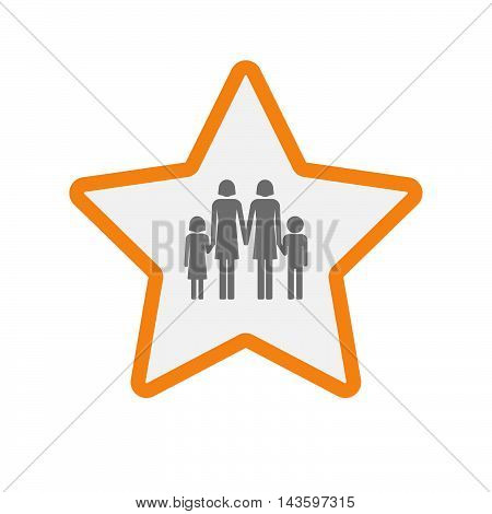 Isolated Line Art Star Icon With A Lesbian Parents Family Pictogram