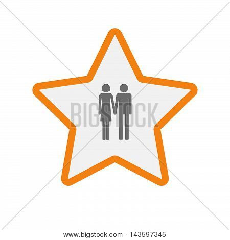 Isolated Line Art Star Icon With A Heterosexual Couple Pictogram