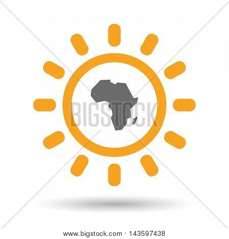 Isolated Line Art Sun Icon With  A Map Of The African Continent