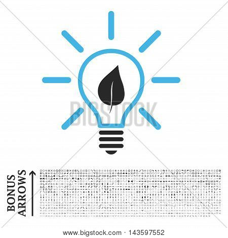 Eco Light Bulb icon with 1200 bonus arrow and navigation pictograms. Vector illustration style is flat iconic bicolor symbols, blue and gray colors, white background.