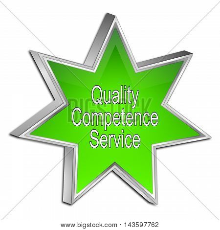 Quality Competence Service Star Button - 3D illustration