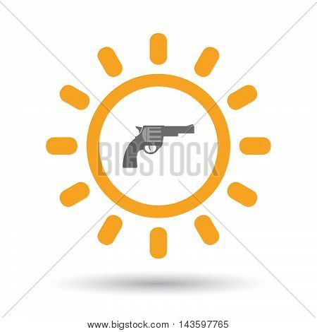 Isolated Line Art Sun Icon With A Gun