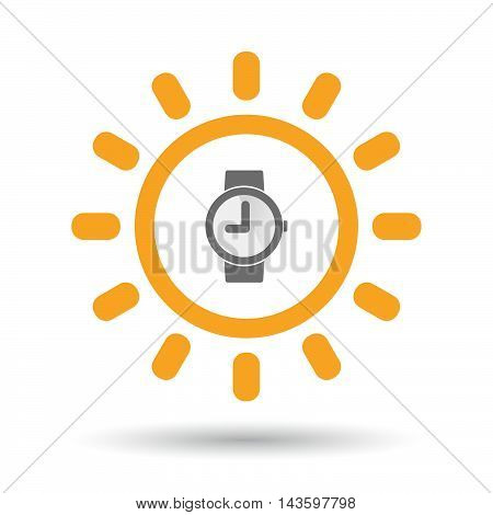 Isolated Line Art Sun Icon With A Wrist Watch
