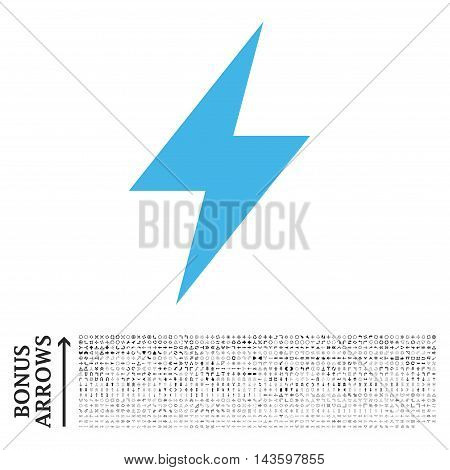 Electric Strike icon with 1200 bonus arrow and navigation pictograms. Vector illustration style is flat iconic bicolor symbols, blue and gray colors, white background.