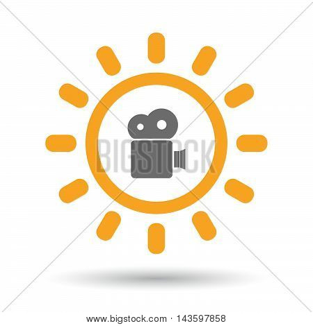 Isolated Line Art Sun Icon With A Film Camera