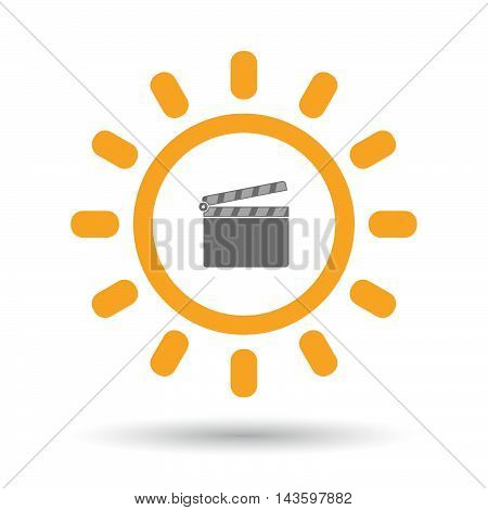Isolated Line Art Sun Icon With A Clapperboard