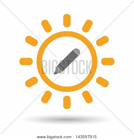 Isolated Line Art Sun Icon With A Pencil