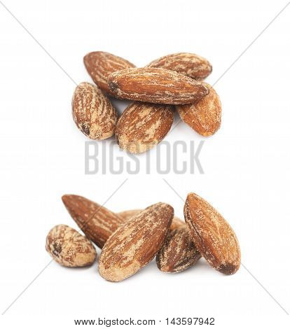 Pile of almond nuts coated with spicy powder isolated over the white background, set of two different foreshortenings
