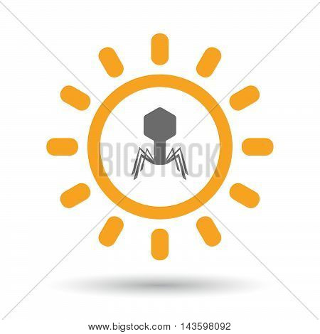 Isolated Line Art Sun Icon With A Virus