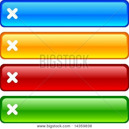 Cancel glossy buttons. Vector illustration.