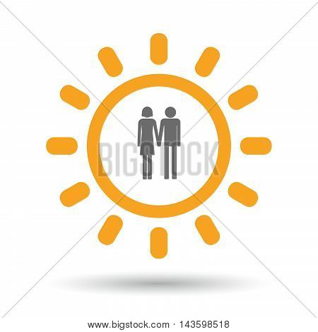 Isolated Line Art Sun Icon With A Heterosexual Couple Pictogram