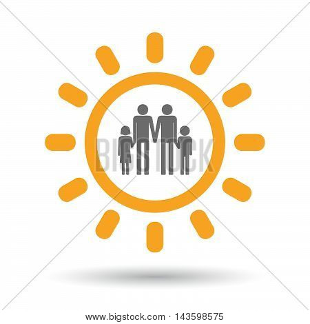 Isolated Line Art Sun Icon With A Gay Parents  Family Pictogram