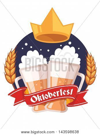 Vector Colorful Illustration Of Couple Mugs Of Yellow Beer With Golden Crown, Ears Wheat, Red Ribbon