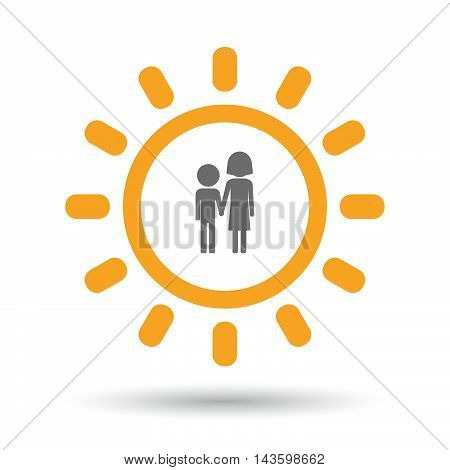 Isolated Line Art Sun Icon With A Childhood Pictogram