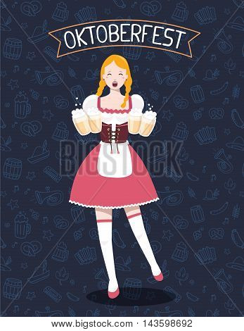 Vector Colorful Illustration Of German Full Length Girl Waitress In Traditional Clothes Holding Yell