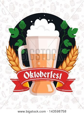 Vector Colorful Illustration Of Big Mug Of Yellow Beer With Ears Wheat, Green Leaf Hops, Red Ribbon